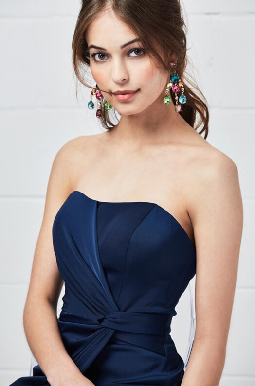 Bridesmaid in blue evening dress
