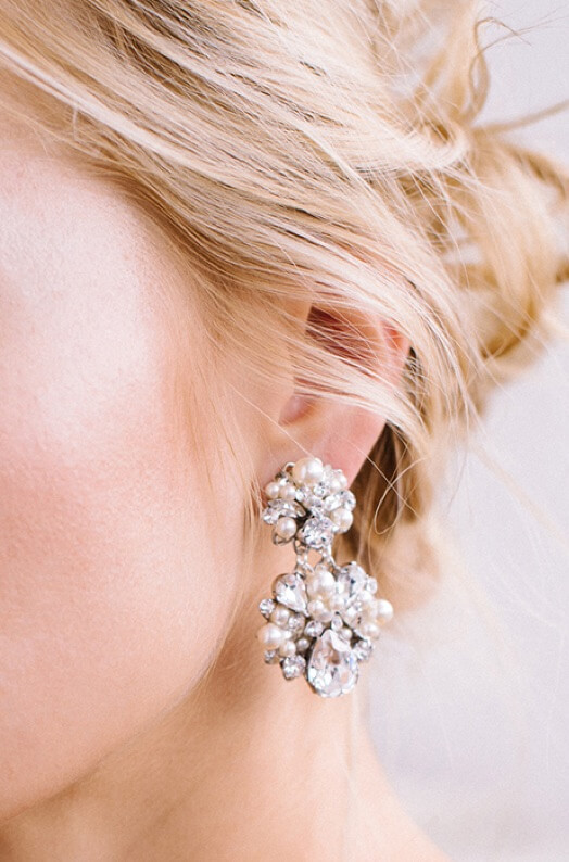 Model wearing The Bridal Gallery Earrings